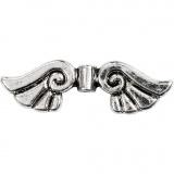 Flügel, Antiksilber, B: 35 mm, Lochgröße 1,5 mm, 6 Stck./ 1 Pck.