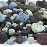 Lavaperlen-Mix, Sortierte Farben, Größe 6-37 mm, Lochgröße 1+2 mm, Inhalt kann variieren , 20 Strg./ 1 Pck.