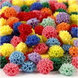 Blumenperlen, Sortierte Farben, Größe 15x8 mm, Lochgröße 1,5 mm, 10x25 Stk/ 1 Pck, 300 ml