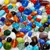 Glasperlen-Mix, Sortierte Farben, Größe 7-18 mm, Lochgröße 1 mm, 1000 g/ 1 Pck