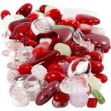 Glasperlen, Sortierte Farben, Marienkäfer, Blätter, Herzen, D: 5-22 mm, Lochgröße 0,5-1,5 mm, 350 g/ 1 Pck.