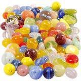 Glasperlen, Sortierte Farben, rund, oval, kreisförmig, D: 6-13 mm, Lochgröße 0,5-1,5 mm, 350 g/ 1 Pck.