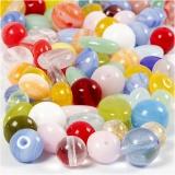 Glasperlen, Sortierte Farben, rund, oval, kreisförmig, D: 6-13 mm, Lochgröße 0,5-1,5 mm, 60 g/ 1 Pck.