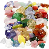 Glasperlen, Sortierte Farben, Blätter, Blumen, D: 6-17 mm, Lochgröße 0,5-1,5 mm, 350 g/ 1 Pck.