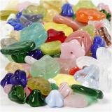Glasperlen, Sortierte Farben, Blätter, Blumen, D: 6-17 mm, Lochgröße 0,5-1,5 mm, 60 g/ 1 Pck.