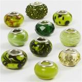Glasperlen Harmonie, Grün mit Glitter, D: 13-15 mm, Lochgröße 4,5-5 mm, 10 sort./ 1 Pck