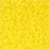 Farbige Glasröhren-Perlen, Transparent Gelb, 2-cut, D: 1,7 mm, Größe 15/0 , Lochgröße 0,5 mm, 500 g/ 1 Btl.
