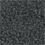 Farbige Glasröhren-Perlen, Transparent Grau, 2-cut, D: 1,7 mm, Größe 15/0 , Lochgröße 0,5 mm, 500 g/ 1 Btl.