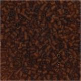 Farbige Glasröhren-Perlen, Braun, 2-cut, D: 1,7 mm, Größe 15/0 , Lochgröße 0,5 mm, 500 g/ 1 Btl.