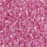 Farbige Glasröhren-Perlen, Rosa, 2-cut, D: 1,7 mm, Größe 15/0 , Lochgröße 0,5 mm, 500 g/ 1 Btl.