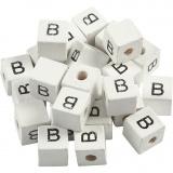 Buchstaben-Perle, Weiß, B, Größe 8x8 mm, Lochgröße 3 mm, 25 Stk/ 1 Pck
