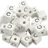 Buchstaben-Perle, Weiß, C, Größe 8x8 mm, Lochgröße 3 mm, 25 Stk/ 1 Pck