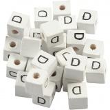 Buchstaben-Perle, Weiß, D, Größe 8x8 mm, Lochgröße 3 mm, 25 Stk/ 1 Pck