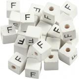 Buchstaben-Perle, Weiß, F, Größe 8x8 mm, Lochgröße 3 mm, 25 Stk/ 1 Pck
