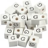 Buchstaben-Perle, Weiß, G, Größe 8x8 mm, Lochgröße 3 mm, 25 Stk/ 1 Pck
