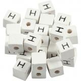 Buchstaben-Perle, Weiß, H, Größe 8x8 mm, Lochgröße 3 mm, 25 Stk/ 1 Pck