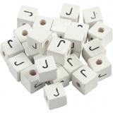 Buchstaben-Perle, Weiß, J, Größe 8x8 mm, Lochgröße 3 mm, 25 Stk/ 1 Pck