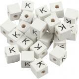 Buchstaben-Perle, Weiß, K, Größe 8x8 mm, Lochgröße 3 mm, 25 Stk/ 1 Pck