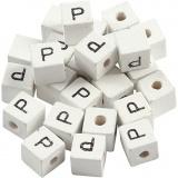 Buchstaben-Perle, Weiß, P, Größe 8x8 mm, Lochgröße 3 mm, 25 Stk/ 1 Pck