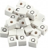 Buchstaben-Perle, Weiß, Q, Größe 8x8 mm, Lochgröße 3 mm, 25 Stk/ 1 Pck