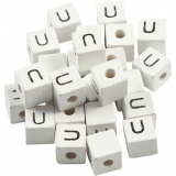 Buchstaben-Perle, Weiß, U, Größe 8x8 mm, Lochgröße 3 mm, 25 Stck./ 1 Pck.
