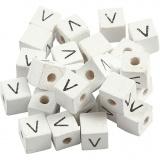 Buchstaben-Perle, Weiß, V, Größe 8x8 mm, Lochgröße 3 mm, 25 Stk/ 1 Pck