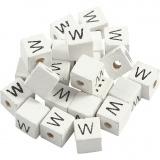 Buchstaben-Perle, Weiß, W, Größe 8x8 mm, Lochgröße 3 mm, 25 Stk/ 1 Pck