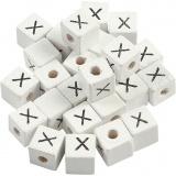 Buchstaben-Perle, Weiß, X, Größe 8x8 mm, Lochgröße 3 mm, 25 Stk/ 1 Pck