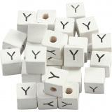Buchstaben-Perle, Weiß, Y, Größe 8x8 mm, Lochgröße 3 mm, 25 Stk/ 1 Pck