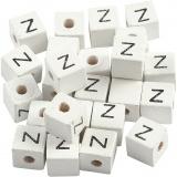 Buchstaben-Perle, Weiß, Z, Größe 8x8 mm, Lochgröße 3 mm, 25 Stk/ 1 Pck