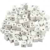 Buchstaben-Perle, Weiß, A-Z, &, #, ?, Größe 8x8 mm, Lochgröße 3 mm, 96 sort./ 1 Pck