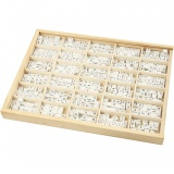 Buchstaben-Perle, Weiß, A-Z, &, #, ?, Größe 8x8 mm, Lochgröße 3 mm, 750 sort./ 1 Pck