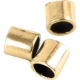 Quetschperle in Röhrenform, Vergoldet, Größe 2x2 mm, Lochgröße 1,4 mm, 80 Stck./ 1 Pck.