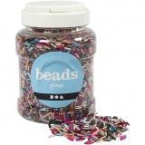 Bead Mix, Metallic-Farben, L: 6 mm, D: 1,5-2 mm, Lochgröße 1 mm, 520 g/ 1 Dose