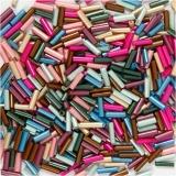 Bead Mix, Metallic-Farben, L: 6 mm, D: 1,5-2 mm, Lochgröße 1 mm, 130 g/ 1 Pck.