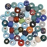 Glasperlen-Mix, Sortierte Farben, D: 9 mm, Lochgröße 2,5-3 mm, 500 g/ 1 Pck.