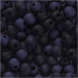 Kunststoffperlen, Blau, D: 6 mm, Lochgröße 2 mm, 40 g/ 1 Pck.