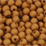 Kunststoffperlen, Braun, D: 6 mm, Lochgröße 2 mm, 40 g/ 1 Pck.