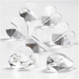 Glasschliffperlen, Glänzend transparent, Herzform, Größe 14 mm, Lochgröße 1 mm, 30 Stck./ 1 Pck.