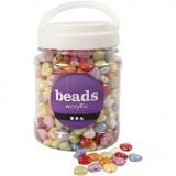 Herzperlen, Mix, Sortierte Farben, Größe 15x15 mm, Lochgröße 3 mm, 700 ml/ 1 Dose, 465 g