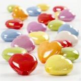 Herzperlen, Mix, Größe 25x15 mm, Lochgröße 3 mm, 125 ml/ 1 Pck., 70 g