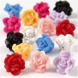 Rosen aus Ton, Sortierte Farben, D: 16x10 mm, Lochgröße 0,5 mm, 16 sort./ 1 Strg.