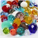 Glasschliffperlen - Mix, Sortierte Farben, Größe 3-15 mm, Lochgröße 0,5-1,5 mm, 400 g/ 1 Pck.
