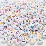 Buchstaben-Perlen, Weiß, Größe 7 mm, Lochgröße 1,2 mm, 200 g/ 1 Pck.