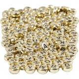 Buchstaben-Perlen, Gold, D: 7 mm, Lochgröße 1,2 mm, 165 g/ 1 Pck.