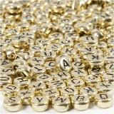 Buchstaben-Perlen, Gold, D: 7 mm, Lochgröße 1,2 mm, 21 g/ 1 Pck.