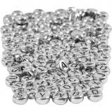 Buchstaben-Perlen, Silber, D: 7 mm, Lochgröße 1,2 mm, 165 g/ 1 Pck.