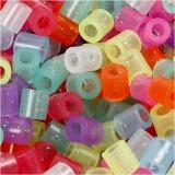 Bügelperlen, Glitter-Farben, Größe 5x5 mm, Lochgröße 2,5 mm, medium, 5000 sort./ 1 Eimer